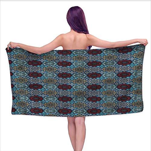 Ediyuneth Printed Bath Towel Moroccan,Retro Ethnic Ottoman,W28 xL55 for Men red