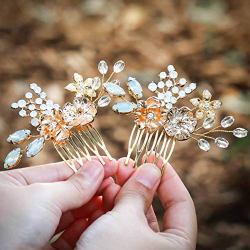Unicra Wedding Crystal Hair Combs Silver Bridal Headpieces Wedding Hair Accessories for Women and Girls (Gold)