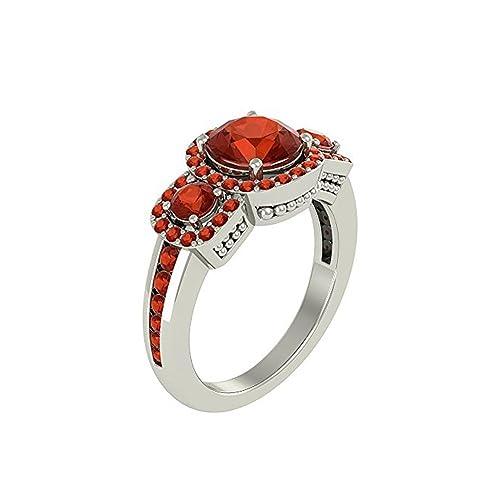 Mejor compromiso anillos de boda en 2,70 ct mexicano fuego montado en el centro