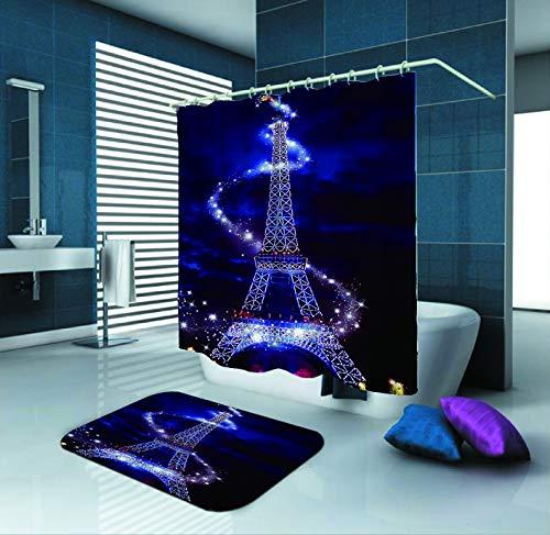 SARA NELL Eiffel Tower Shower Curtain,Effiel Tower,72X72In Polyester Fabric Shower Curtain Set with 15.7X23.6In Flannel Non-Slip Floor Doormat Bath - Tower Flannel Eiffel