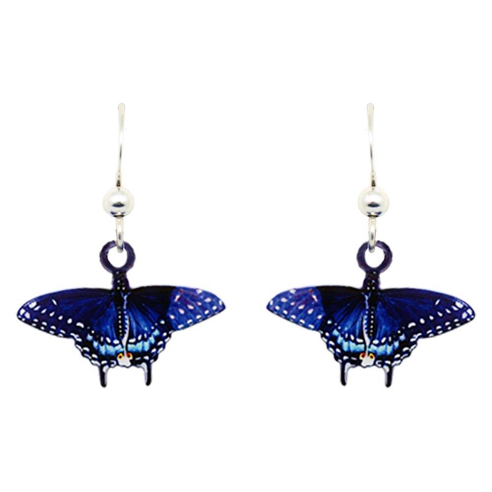 Black Swallowtail Butterfly Earrings by dears Non-Tarnish Sterling Silver French Hook Ear Wire