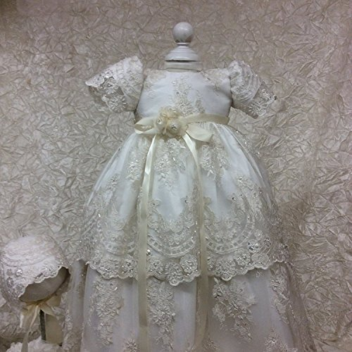 Banfvting Baby Girls Long Baptism Dress Lace Christening Gown With Bonnet by Banfvting (Image #5)