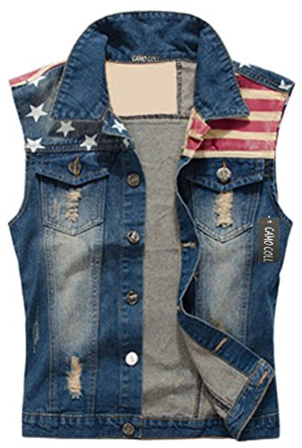 Camo Coll Men's Sleeveless Lapel Denim Vest Jacket (L, Blue)]()