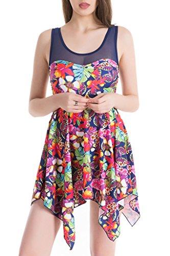 Claire Stool (Women's Elegant Skirt One-Piece Swimsuit High Waist Swimwear Backless Swimdress Navy Blue Flower 5XL(US14-16))