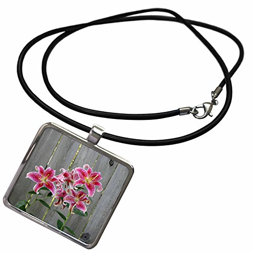 3dRose Danita Delimont - Flower - Stargazer Lily by Rustic Fence - Necklace with Rectangle Pendant (ncl_228229_1) ()