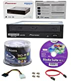 Pioneer 16x BDR-211UBK Internal Ultra HD Blu-ray BDXL Burner, Cyberlink Software and Cable Accessories Bundle with 50pk BD-R Ridata 25GB 6X White Inkjet, Hub Printable