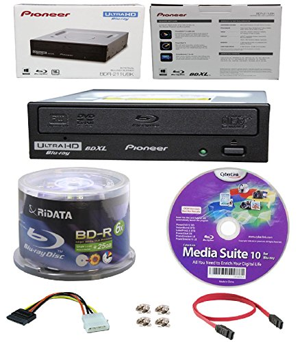 Pioneer 16x BDR-211UBK Internal Ultra HD Blu-ray BDXL Burner, Cyberlink Software and Cable Accessories Bundle with 50pk BD-R Ridata 25GB 6X White Inkjet, Hub Printable by Produplicator