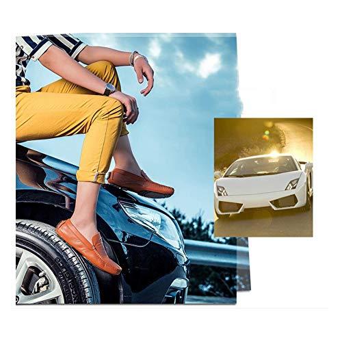 Driving Mocasines YaXuan y en Mocasines Confort Lazy otoño Shoes Piel para Zapatos Primavera de Caminar Shoes on Slip Marrón Verano Comfort Cuero Breathability qqvUPAfwnr