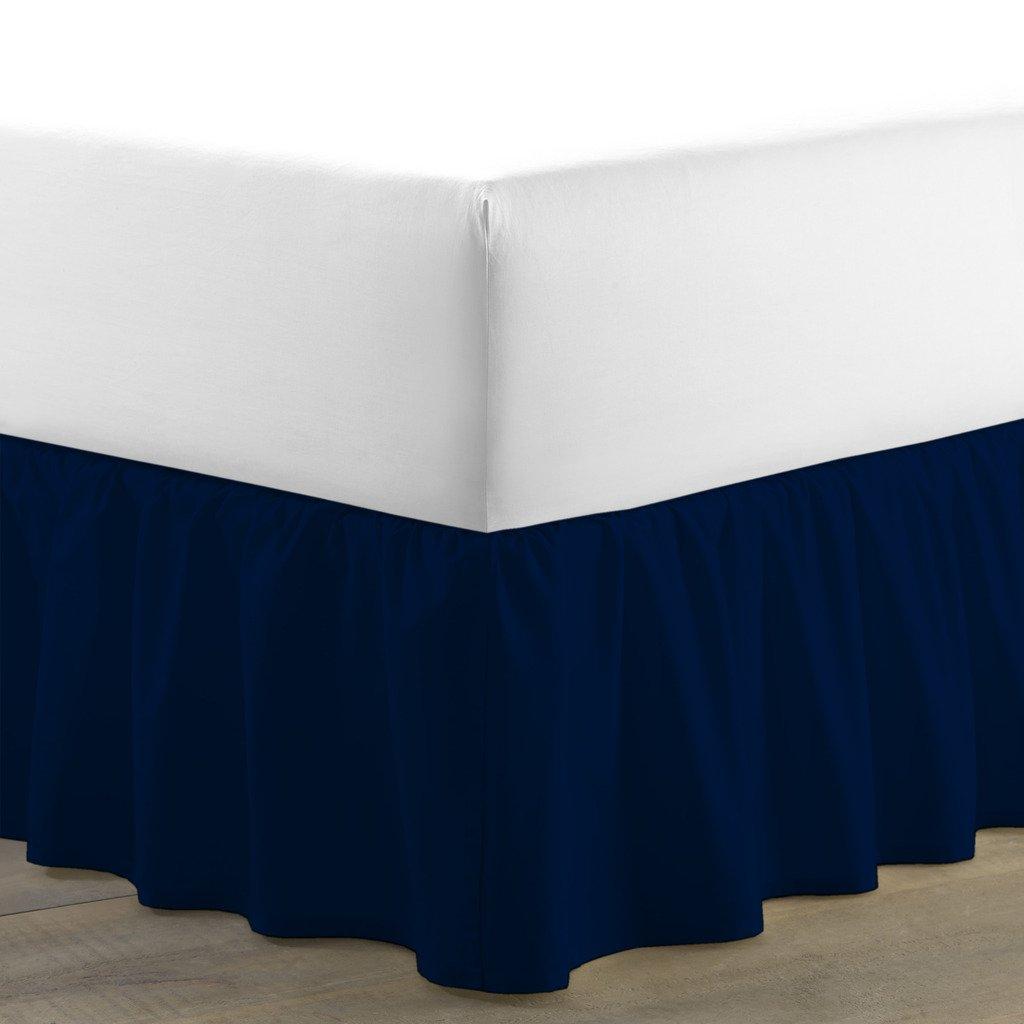 豪華なダストフリル付きベッドスカート400スレッド数100 %エジプト綿10インチドロップby Kotton Cultureソリッド(アクアブルー、カリフォルニアキング) (可能なすべてのサイズと29色) Twin-XL ブルー 1DSNTRBSSOO104TCANblueTXL B072HW96J9 ネイビーブルー Twin-XL