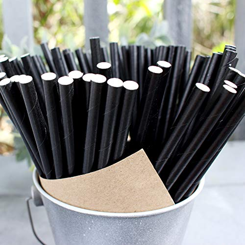 The Spice Lab 500 Drinking Eco-Friendly Biodegradable Paper Straws - Black - 500 Count - 7.75