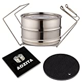 Aozita Stackable 2 Tier Stainless Steel Pressure Cooker Steamer Insert Pans with Lid and Handle and Silicone Heat Resistant Mat for Instant Pot and other 5/6/8 qt Pressure Cooker