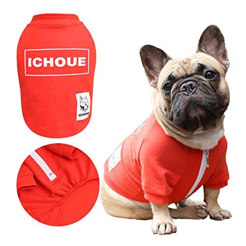 iChoue Dog Sweatshirt Clothes Half Zipper Tee Shirt for Frenchie Pug Boston Terrier Box Logo Tshirt - Red Size L