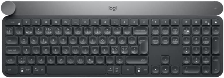 Logitech Craft Teclado Inalámbrico, 2,4 GHz/Bluetooth, Disco Selector Creativo, Multi-Dispositivos, Teclas Retroiluminadas Automáticas, Recargable, PC/Mac/Portátil, Disposición QWERTY Español - Negro