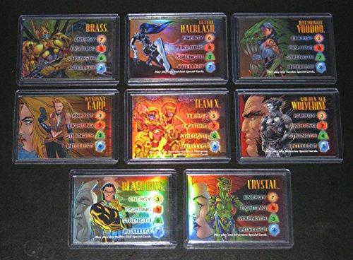 - 1997 Marvel vs. Wildstorm OVERPOWER REFRACTOR Insert Set of 8 Cards NM/M, X-Men, Spider-Man