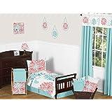 Turquoise and Coral Emma Girls Modern Toddler Bedding Floral 5 Piece Comforter Sheet Set
