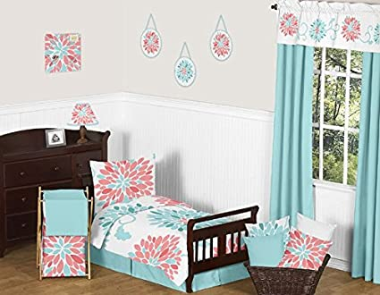 Turquoise and Coral Emma Girls Modern Toddler Bedding Floral 5 Piece Comforter Sheet Set
