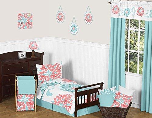 Sweet Jojo Designs 5-Piece Turquoise and Coral Emma Girls Modern Toddler Bedding Floral Comforter Sheet Set