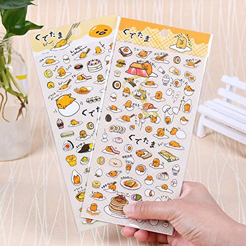 Yichener Adesivi Trasparenti a Forma di Uovo Pigro in PVC Kawaii Planner Sticky Notes Papelaria