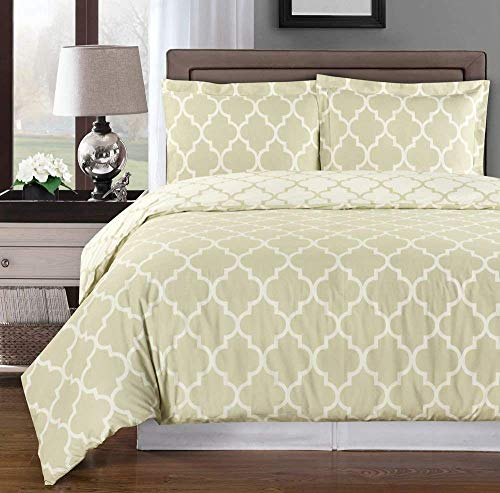 Beige and Ivory Meridian King / Cal-king 3-piece Duvet-Cover-Set, 100 % Cotton 300 TC