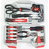 Yuanshikj Tools Set Kit 39 Piece Precision General Homeowner's Toolbox Household Hand Tool Set Kit with Plastic Storage Case Red Color
