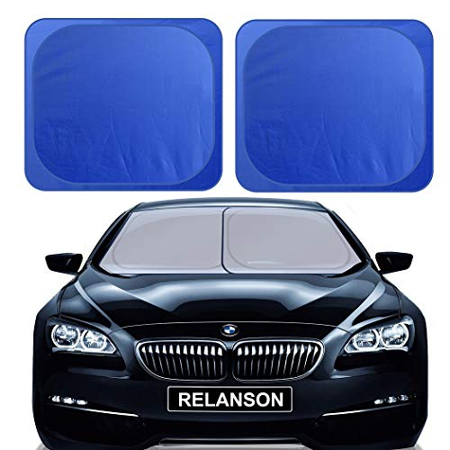 RELANSON Car Windshield Sunshade,2 Pieces of Separate Foldable 35