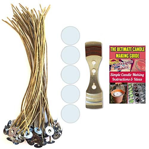 CozYours 8 inch Beeswax Hemp Candle Wicks with Candle Wick Stickers & Candle Wick Centering Device,50/50/1 pcs;Low Smoke&Natural;Candle Wicks for Candle Making.Candle DIY Hacks E-Book Included!