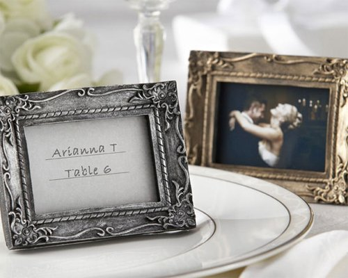 Work of Art Antique-Finish Place Card Holder Photo Frame - Antique-gold finish [SET OF 12] by Kate Aspen