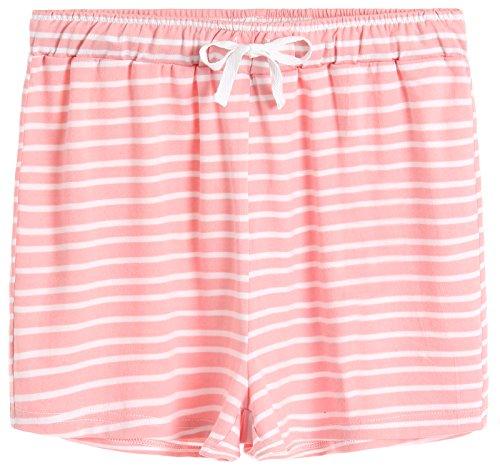 Cotton Pink Short - Latuza Women's Cotton Striped Pajama Shorts S Pink