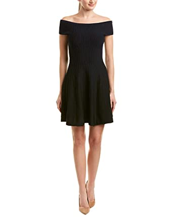 f2f3edb4ff8 French Connection Womens Olivia Crepe Off-The-Shoulder Cocktail Dress Navy 2