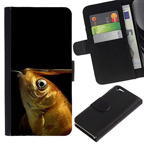 EuroCase - Apple Iphone 6 4.7 - Funny Goldfish - Cuir PU Coverture Shell Armure Coque Coq Cas Etui Housse Case Cover