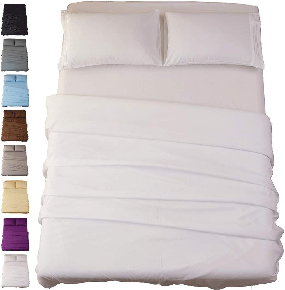 Sonoro Kate Bed Sheet Set Super Soft Microfiber 1800 Thread Count Luxury Egyptian Sheets 16-Inch Deep Pocket Wrinkle and Hypoallergenic-4 Piece(Queen White)