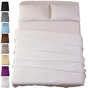Sonoro Kate Bed Sheet Set Super Soft Microfiber 1800 Thread Count Luxury Egyptian Sheets 18-Inch Deep Pocket Wrinkle and Hypoallergenic-4 Piece(Full White)