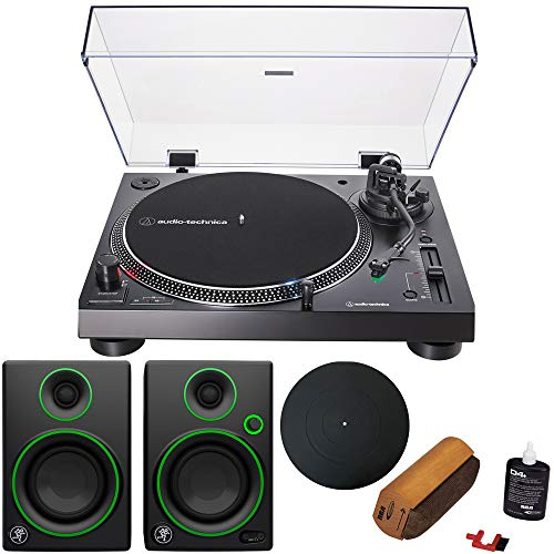 "Audio-Technica AT-LP120XUSB Direct-Drive Turntable Analog/USB, Black + Audio Immersion Bundle w/Platter, Vinyl Record Cleaning System & Mackie 3"" Creative Reference Multimedia Monitors (Pair)"