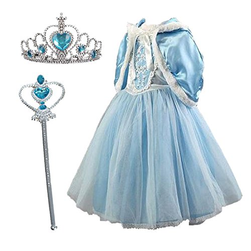 Olaf Child Costumes (TOKYO-T Girls Elsa Inspired Costume Dress Princess Party with Tiara Set Size 5-6)