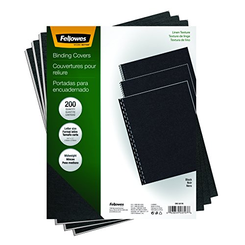 Fellowes Binding Linen Presentation Covers, Letter, Black, 200 Pack (5217001)