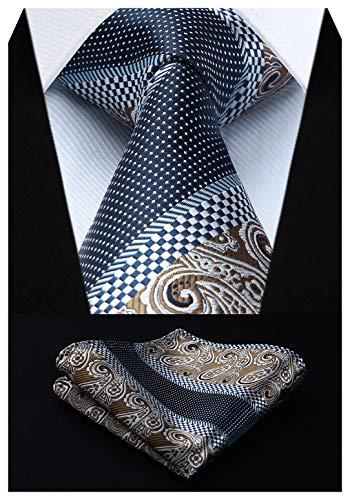 HISDERN Extra Long Floral Paislry Tie Handkerchief Men's Necktie & Pocket Square Set (Brown & Navy Blue)