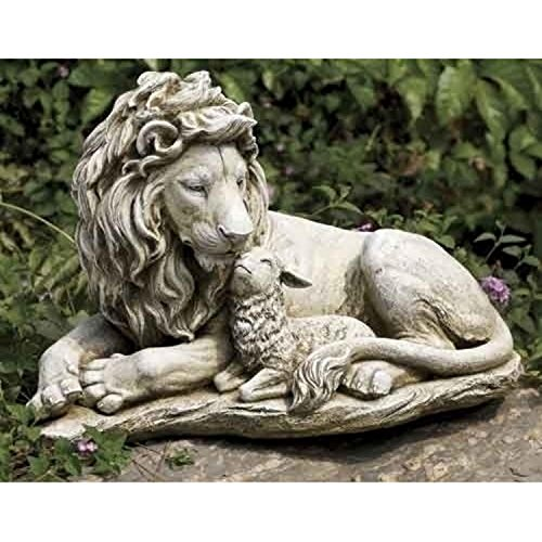 Roman 20'' Joseph's Studio Lion and Lamb Outdoor Garden Statue by Roman