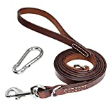 PET ARTIST 5 Foot/6 Foot Leather Dog Leash Long Training Leads Heavy Duty Large Medium Small Dogs Brown