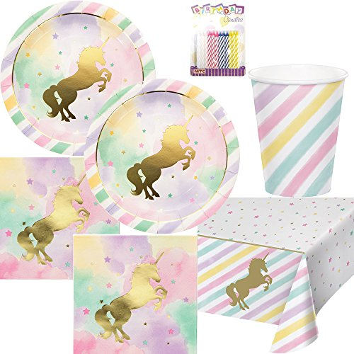 Unicorn Sparkle Party Supplies Pack Serves 16: Dinner Plates, Luncheon Napkins, Cups, Table Cover, and Birthday Candles -