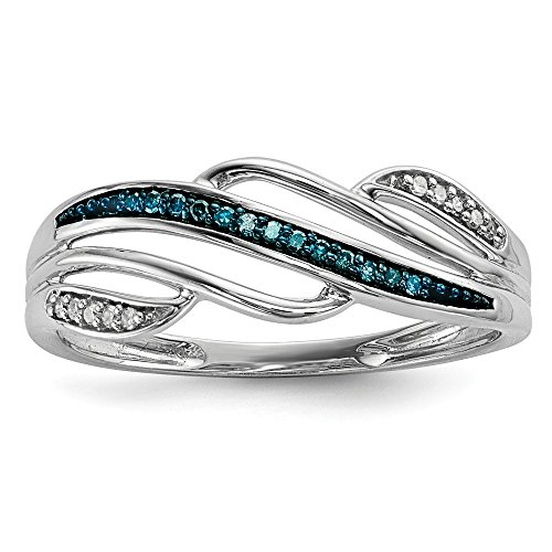 (925 Sterling Silver Rhod Plated Blue White Diamond Band Ring Size 7.00 Fine Jewelry Gifts For Women For Her)