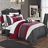 Carlton Burgundy, Grey & White Queen 6 Piece Comforter Bed In A Bag Set
