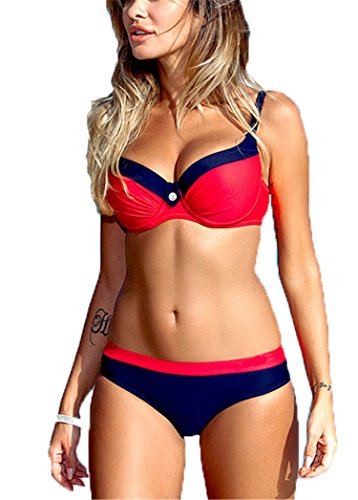 piece suit women Solid MaxPa La girls beach swimming bikinis two swimwear sexy up push summer bikini red 2018 bathing suit M set multicolor wHRaRI