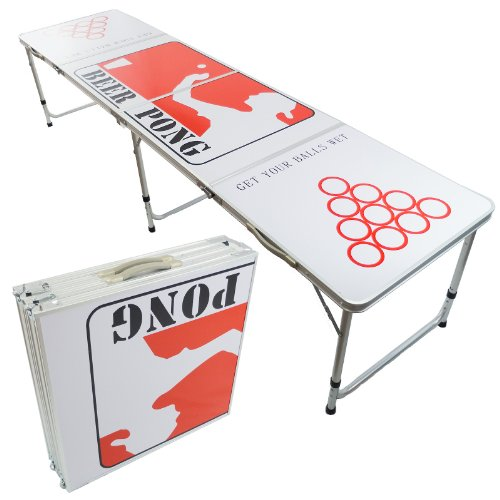 NEW BEER PONG TABLE 8' ALUMINUM PORTABLE ADJUSTABLE FOLDING INDOOR OUTDOOR TAILGATE DRINKING PARTY GAME #4 by PONGBUDDY (Beer Pong Mats)
