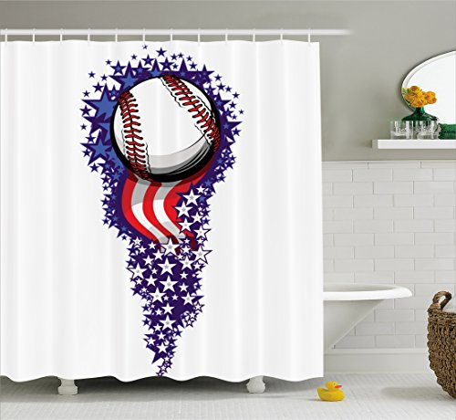 Sports Decor Shower Curtain Set by Ambesonne, Stars And Stripes Fireworks Patriotic Baseball Celebration Holiday Flag , Bathroom Accessories, 69W X 70L Inches