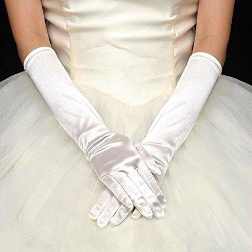 (WensLTD Womens Satin Long Gloves Opera Wedding Bridal Evening Party Prom Costume Gloves (White))