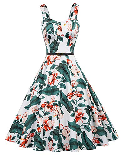 Plus Size 1950's Floral Tea Dress Swing Prom Party Cocktail Dress for Women XXL, White Floral-2]()