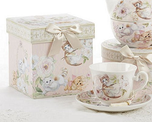 Delton Products Porcelain Adult Size Tea Cup and Saucer, Kittens and Puppy Pattern - Keepsake Box