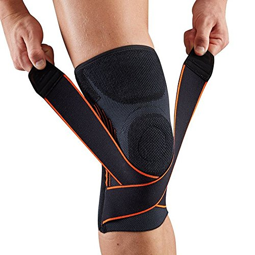 Compression Knee Sleeve/Knee Brace with Adjustable Strap and Silicone Ring for Running, Jogging, Sports activities, Joint Pain Aid, Arthritis and Injury Recovery-Single Wrap By Weforever – DiZiSports Store