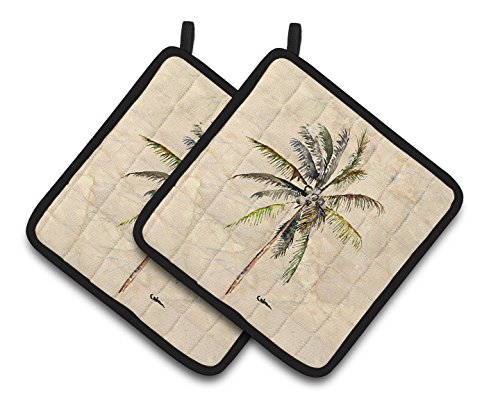 Palm Tree Pot Holder (Caroline's Treasures Palm Tree Pair of Pot Holders 8482PTHD, 7.5HX7.5W, Multicolor)