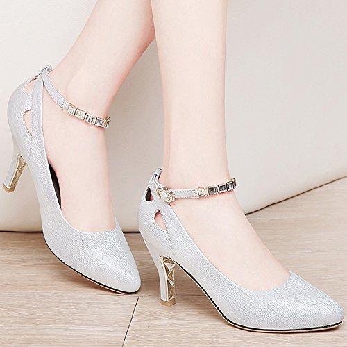 o Noche Zapatos Mujer C White Sandalias de Tacones HUAIHAIZ Zapatos Tacones de zUYqAA